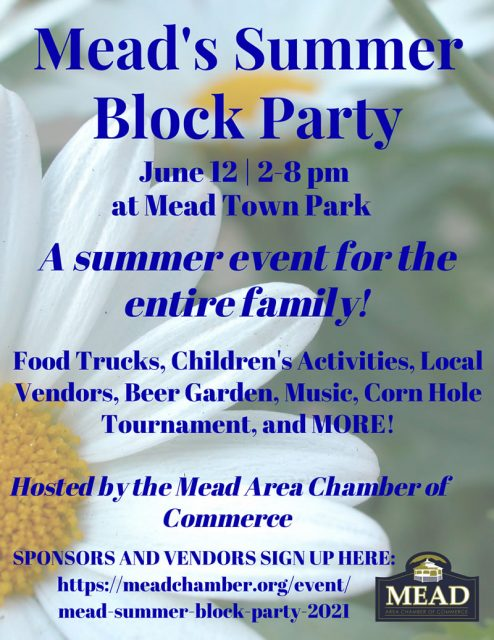 2021 Mead's Summer Block Party Flyer
